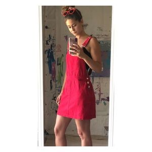 CUTE Forever 21 red overall dress